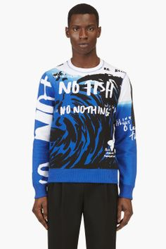 KENZO Blue NO FISH No Nothing Blue Marine Foundation Edition Sweater