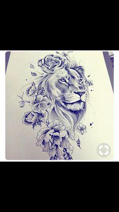 tattoo designs 2019 Masculine, yet feminine too! Would make a great shoulder tattoo! tattoo designs 2019 Masculine, yet feminine too! Would make a great shoulder tattoo! Leo Tattoos, Future Tattoos, Body Art Tattoos, Tattos, Mini Tattoos, Tigh Tattoo, Lion Thigh Tattoo, Lion And Lioness Tattoo, Lion Woman Tattoo
