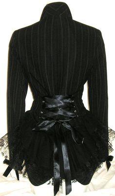 Black Pinstripe Victorian Bustle Jacket Coat Goth Lolita Vampire Steampunk Cosplay 14/16 UK on Etsy, $70.84