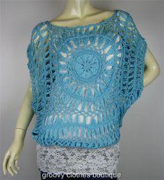FESTIVAL - HIPPIE BOHO Plain Colour Crochet Top Size 8 -16 Au