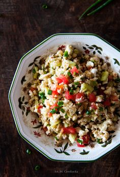 Raw cauliflower salad Fried Rice, Risotto, Nom Nom, Fries, Food And Drink, Nutrition, Lunch, Cooking, Kochen