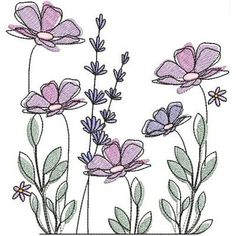 This is a group of floral patterns perfect for embroidery beginners. You get to try out on different embroidery styles for this piece. Embroidery Transfers, Hand Embroidery Patterns, Embroidery Designs, Embroidery Sampler, Machine Embroidery, Flower Embroidery, Simple Flowers, Exotic Flowers, Blue Flowers