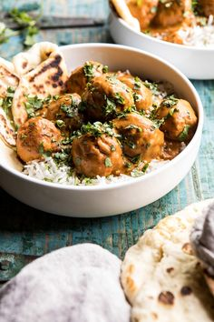 30 Minute Butter Chicken Meatballs -easy and delicious. Served with cauliflower rice and naan. Would love to try putting spices in the meatballs themselves, but a definite make-again. Top Recipes, Fall Recipes, Indian Food Recipes, Great Recipes, Dinner Recipes, Cooking Recipes, Favorite Recipes, Healthy Recipes, Half Baked Harvest