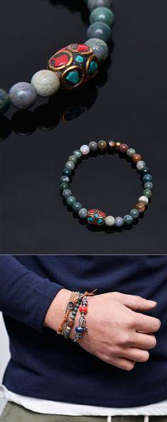 Mens Exotic Quartz Beads-Bracelet 300 by Guylook.com by Guylook.com