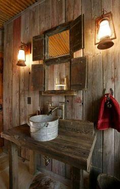 Simple and Rustic Bathroom Design for Modern Home : Rustic Barn Bathroom With Classic Vanity From Metal Sink Barn Bathroom, Cabin Bathrooms, Primitive Bathrooms, Bathroom Ideas, Bathroom Interior, Bathroom Sinks, Small Bathroom, Country Bathrooms, Bathroom Renovations