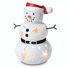 Our smiling snowman is decked out as the season's favorite jolly fellow. Light from a tealight, sold separately, twinkles through snowflake cutouts. Xmas 2015, Christmas 2015, Holiday, Candle Pics, Snowflake Cutouts, Partylite, Beautiful Candles, Tea Light Holder, Decorating Your Home
