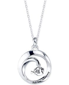 """Disney Finding Dory """"Just Keep Swimming"""" Round Pendant Necklace in Sterling Silver"""