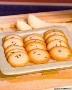 Although usually associated with savory dishes, fresh herbs can put a distinctive twist on classic desserts, such as these lemon wafers.