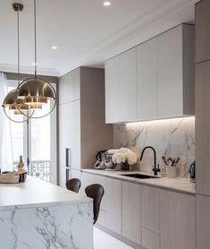 Kitchen Room Design, Home Room Design, Home Decor Kitchen, Interior Design Kitchen, Home Kitchens, Simple Kitchen Design, Loft Kitchen, Modern Interior Design, Contemporary Kitchen Design