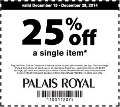 picture about Palais Royal Printable Coupons identify 9 Suitable Coupon codes visuals within just 2016 Coupon, Discount coupons, Palais royal