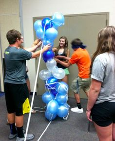 Built the tallest tower using balloons and tape.