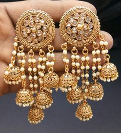 Buy Traditional Jhumka With Pearl Earring Wedding Wear Earring online. Indian Jewelry Earrings, Indian Jewelry Sets, Jewelry Design Earrings, Gold Earrings Designs, Indian Wedding Jewelry, Bridal Jewelry, Hoop Earrings, Indian Accessories, India Jewelry