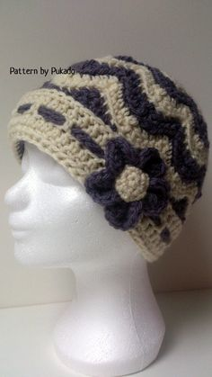 Crochet Pattern - Chevron Winter Hat - 3 sizes - bonus free pattern skirt, mittens and boot cuffs by Pukado