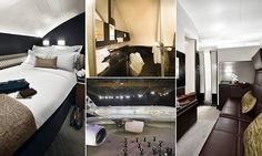 It's hard to believe a double bed can fit on a plane, even the gargantuan But there it is, beckoning weary and heavy-walleted travellers into its comfy fold. Flying First Class, Double Beds, Plane, Travelling, Aircraft, Comfy, Sky, Furniture, Home Decor