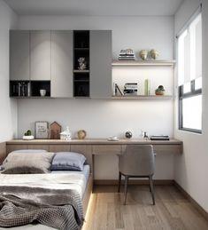 Apartment on behance. Bedroom Setup, Room Design Bedroom, Bedroom Furniture Design, Home Room Design, Small Room Bedroom, Home Office Design, Home Bedroom, Home Interior Design, Bedroom Decor