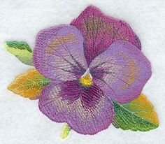анютины глазки вышивка / Watercolor Pansy Embroidered Quilt Block or White by remimartin