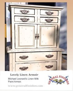 This armoir created by Michael Leonard is very unique!  He used General Finishes Milk Paint in Linen and used a distressing technique. We'd love to see your projects made with General Finishes products! Tag us with #GeneralFinishes or share with us through our website or our facebook page.