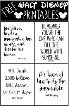 Free Walt Disney Printables, Walt disney Quotes, free printable - New Ideas Citations Disney, Frases Disney, Walt Disney Quotes, Disney Sayings, Quotes From Disney Movies, Disney Quote Shirts, Disney Quotes About Family, Disney Quote Tattoos, Walt Disney Inspirational Quotes