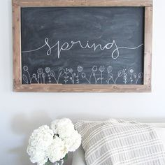 Spring Chalkboard Art! Click to see more pics of The Blooming Nest Home