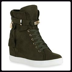 Damen Sneaker-Wedges Glitzer Turn Keil Absatz Fell Schuhe 122982 Gold 39 Flandell m5XxR