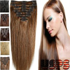 Newest Fashion Clip in Remy Human Hair Extensions EP Full Head US Salon Quality | eBay