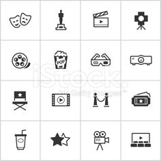 Movies & Cinema Icons — Inky Series royalty-free stock vector art