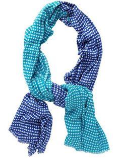 Polka Dot Oblong Scarf 80 x 35 Blue Aqua