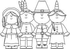 Fall Clip Art Black And White | Black and White Indians and Pilgrims - black and white outline of two ...
