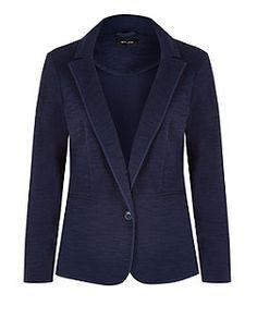 Navy Button Front Blazer  | New Look
