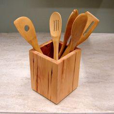 Wooden+Kitchen+Utensil+Holder