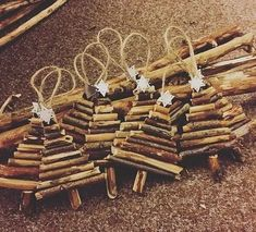 Handmade rustic wooden mini Christmas tree, tree decorations, silver star on the top, twine loop to hang. Hand picked branches with Christmas Crafts For Kids To Make, Mini Christmas Tree, Diy Christmas Ornaments, Simple Christmas, Christmas Projects, Winter Christmas, Holiday Crafts, Christmas Ideas, Rustic Christmas Tree Decorations
