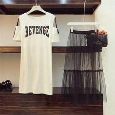 T-shirt Mesh Skirt Holes Belt Two Piece set RI – deevybuy Fashion Mode, Look Fashion, Korean Fashion, Girl Fashion, Fashion Dresses, Womens Fashion, Lolita Fashion, Cheap Fashion, Affordable Fashion