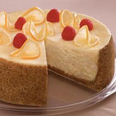 Lemon Cheesecake with Fresh Raspberries