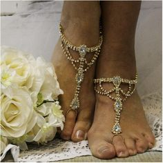 "SOMETHING SPECIAL barefoot sandals - gold  wedding, foot jewelry, beach wedding, bridal ""PIN this pretty for later!'"