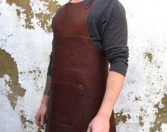 Selvedge denim and leather apron cross back by PAULAKIRKWOOD