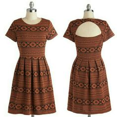 """#5: $40 – ModCloth """"Rust Can't Get Enough"""" Dress – Large – (Orig. $55) – 100% Polyester. Fabric provides stretch. Unlined. Side zipper enclosure."""