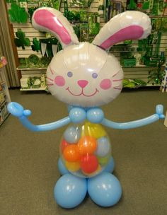 Balloon Buddie Bunny, Easter Bunny, mini balloons stuffed in belly