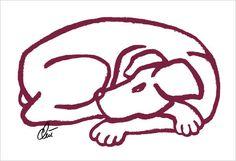 JACQUELINE DITT - Dog Red A3 sign.limitiert Original Grafik Tier Hund mittelgr.