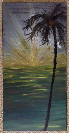 """Original """"Sun Burst"""" painting. The tall standing palm and sun rays compliment each other with this unique beach painting. 12 x 24 By Art Room 278"""