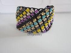 Diagonal Macrame Bracelet with Beads. Браслет в технике макраме . - YouTube