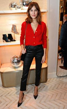 Alexa Chung in a red heart pointelle cardigan and black leather pants Capsule Outfits, Fashion Capsule, Best Celebrity Dresses, Celebrity Style, Alexa Chung Style, Black Leather Pants, Leather Trousers, Love Her Style, Star Fashion