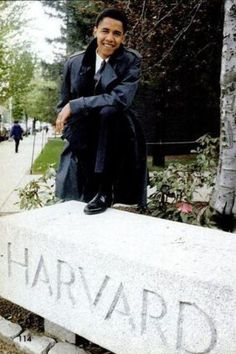A young Barck Obama at Harvard.