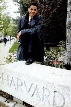 A young Barck Obama at Harvard.