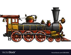Vintage steam locomotive drawn ancient train vector image on VectorStock Train Clipart, Train Vector, Zug Illustration, Kinkade Paintings, Train Drawing, Old Steam Train, Train Art, Train Pictures, Old Trains