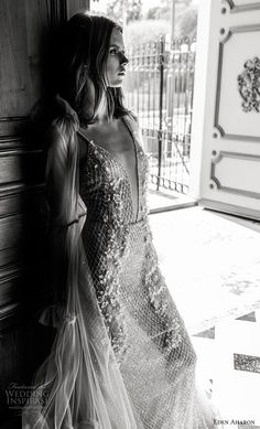 eden aharon 2019 bridal spaghetti strap deep plunging v neck full embellishment glizty glamorous sexy a line wedding dress mv -- Eden Aharon 2019 Wedding Dresses 2015 Wedding Dresses, Bridal Dresses, Gown Wedding, Bridal Gown, Wedding Ceremony, Lace Wedding, Elegant Ball Gowns, Bridal Poses, Bridesmaid Outfit