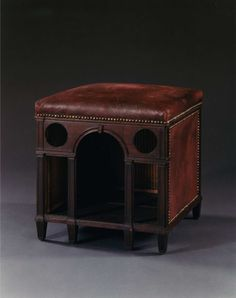 Chenil is a French word meaning 'kennel,' however, it is also applied to a dog bed or dog house. Chenils were popular among aristocratic pet owners in 18th C. France, and were constructed with the same luxury and opulence as the other household furniture.  Mahogany stool-shaped chenil in the Carlton Hobbs LLC collection, ca.1775