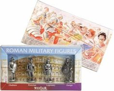 Roman Military Figures Fantasy Gaming or Role Playing Miniature Statue Set of 4 Role 1.5H
