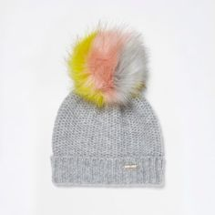 f6948e696f6d0 This River Island Womens Light grey multicolored bobble beanie hat is  seriously adorable