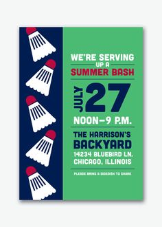 preppy badminton backyard summer party invite by viavaciousdesigns, $20.00