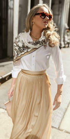 // White button-down mens non-iron shirt, golden silk high-rise silk maxi skirt, nude pointed toe flats with asymmetrica Nyc Fashion, Fashion 2020, Spring Fashion, Classy Fashion, Style Fashion, Winter Fashion, Classy Outfits, Stylish Outfits, Modest Fashion